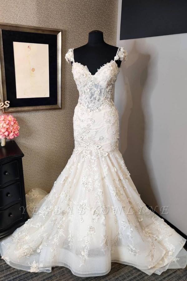 Vintage Long Sweetheart Backless Lace Mermaid Wedding Dress