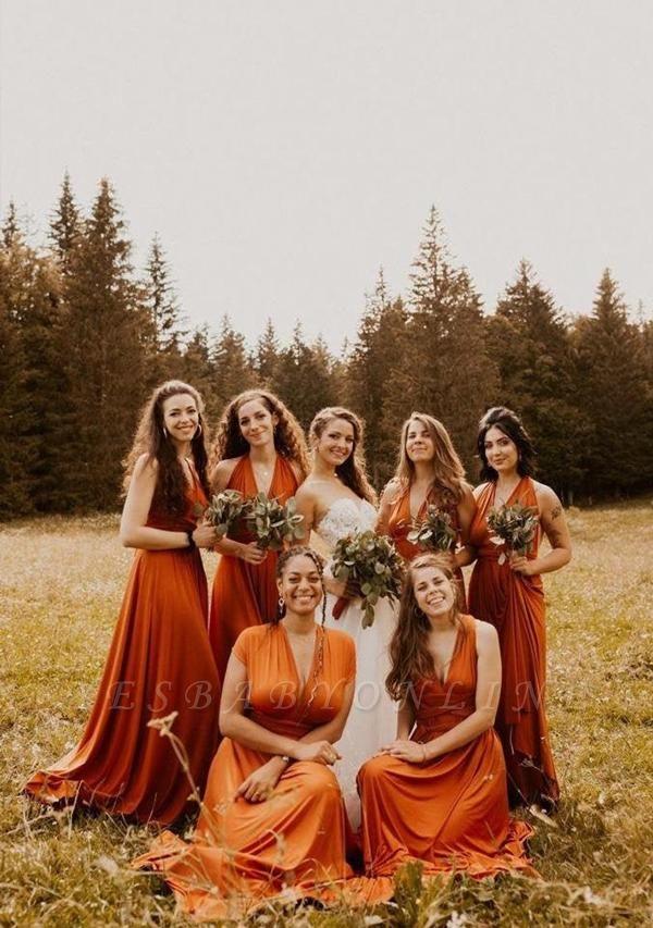 Burnt Orange Multiway Infinity Bridesmaid Dresses   Convertible Wedding Party Dress