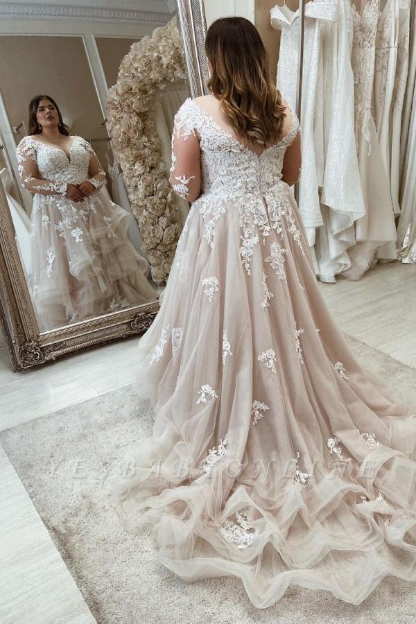 Luxury Plus Size A-Line Sweetheart Long Sleeves Wedding Dresses