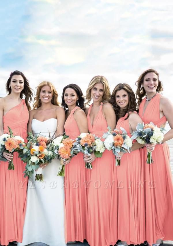 Peach Coral Multiway Infinity Bridesmaid Dresses   Convertible Wedding Party Dress