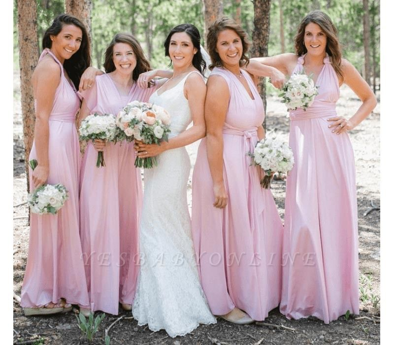 Baby Pink Multiway Infinity Bridesmaid Dresses   Convertible Wedding Party Dress