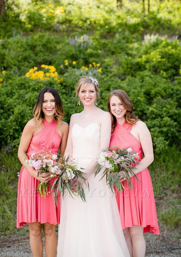 Coral Pink Multiway Infinity Bridesmaid Dresses   Convertible Wedding Party Dress