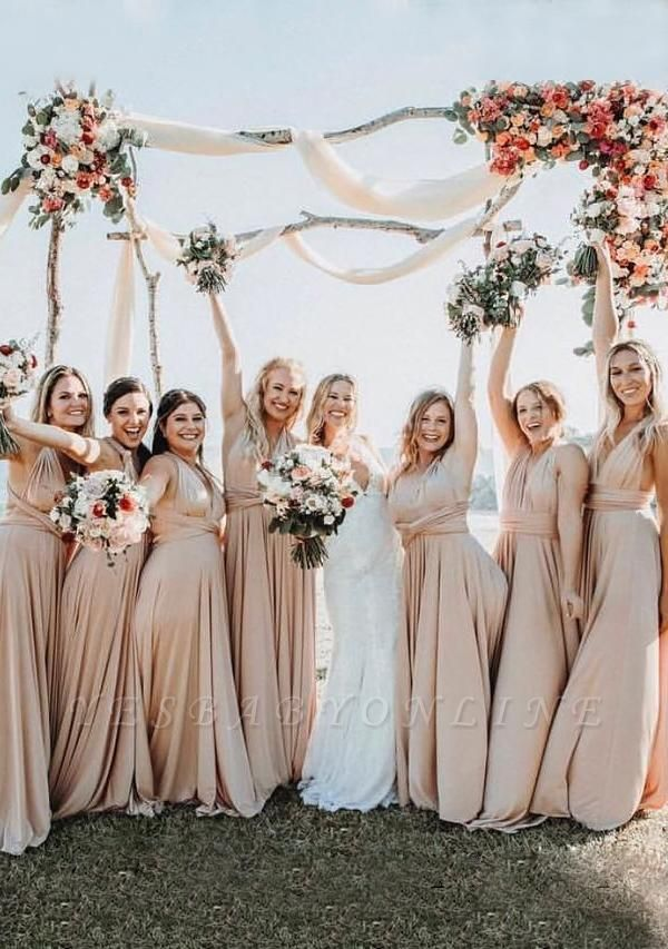 Champagne Multiway Infinity Bridesmaid Dresses | Convertible Wedding Party Dress