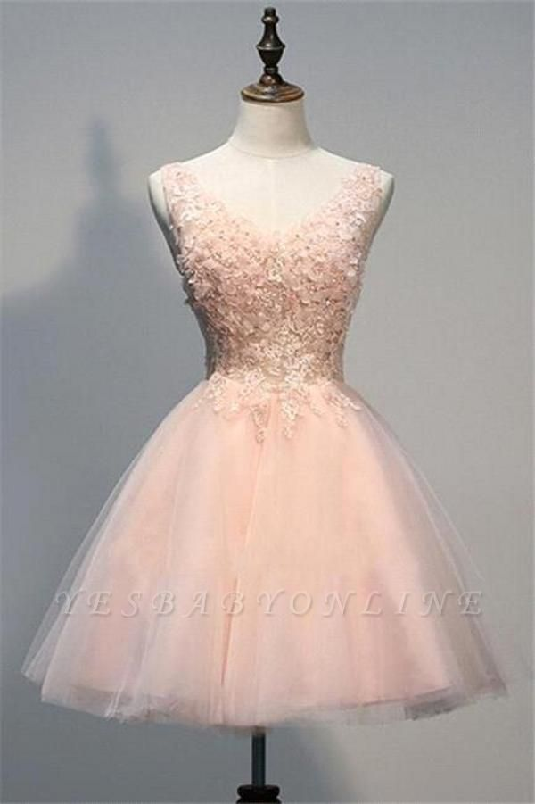 Short Pink A-line V-neck Tulle Appliques Prom Dress