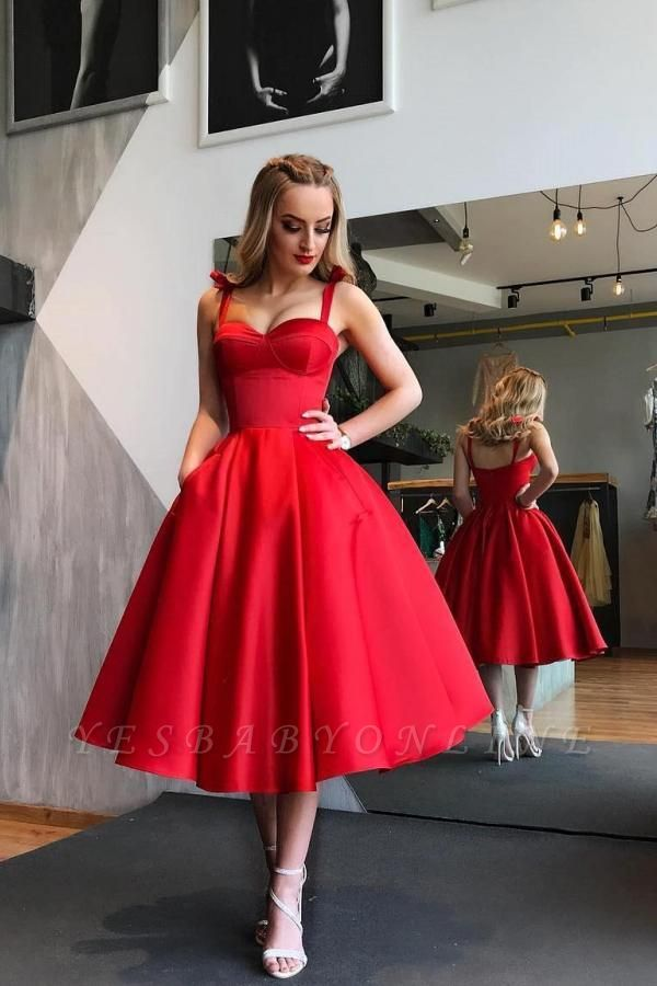 Short A-line Sweetheart Satin Red Prom Dress with Pockets