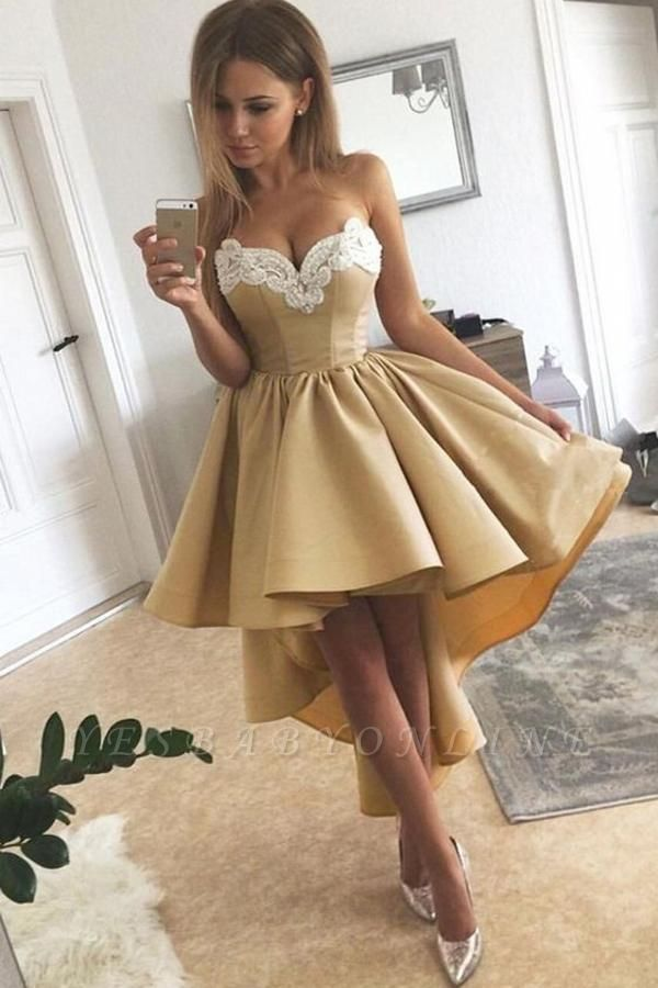 High Low A-line Sweetheart Stretch Satin Appliques Prom Dress