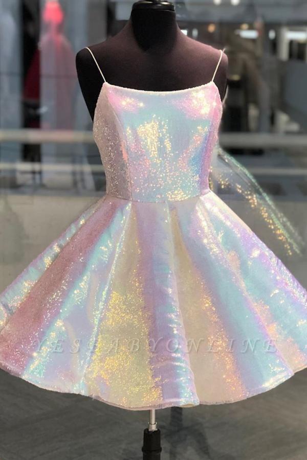 Short A-line Spaghetti Straps Glitter Prom Dress