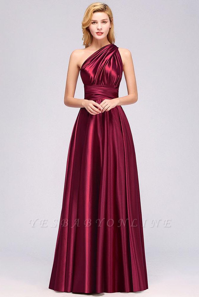 Elegant Long Burgundy Satin One Shoulder Bridesmaid Dresses
