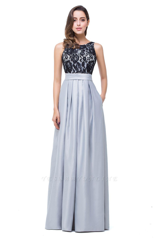 ELLIE | Elegant A-line Floor-length Crew Chiffon Lace Bridesmaid Dresses