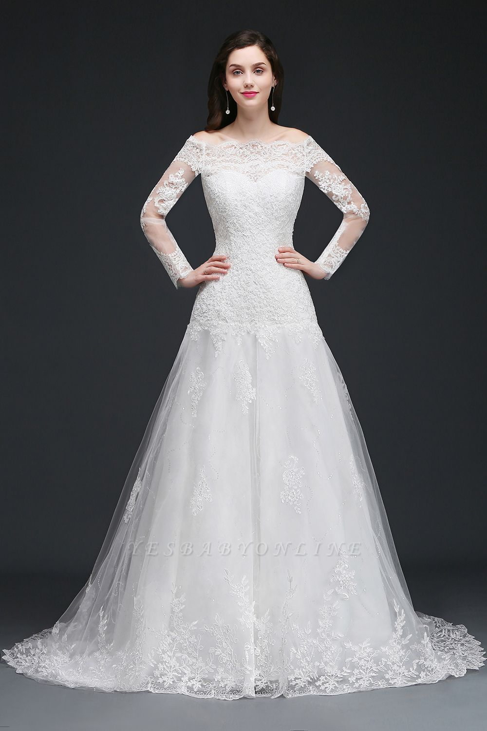 ADELYNN | A-line Sweep-train Ivory Wedding Dress with Lace