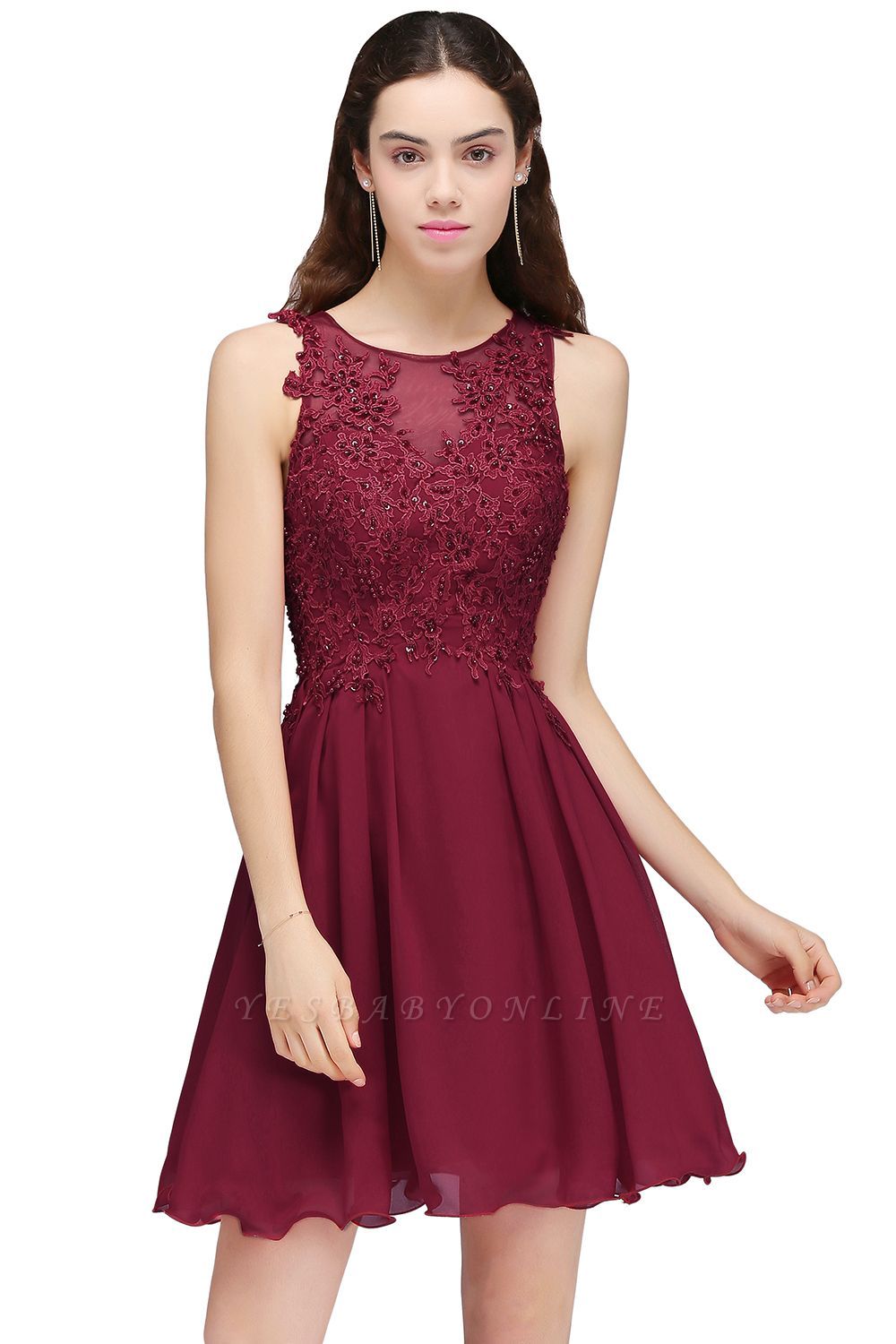 Cheap Burgundy A-line Homecoming Dress with Lace Appliques in Stock