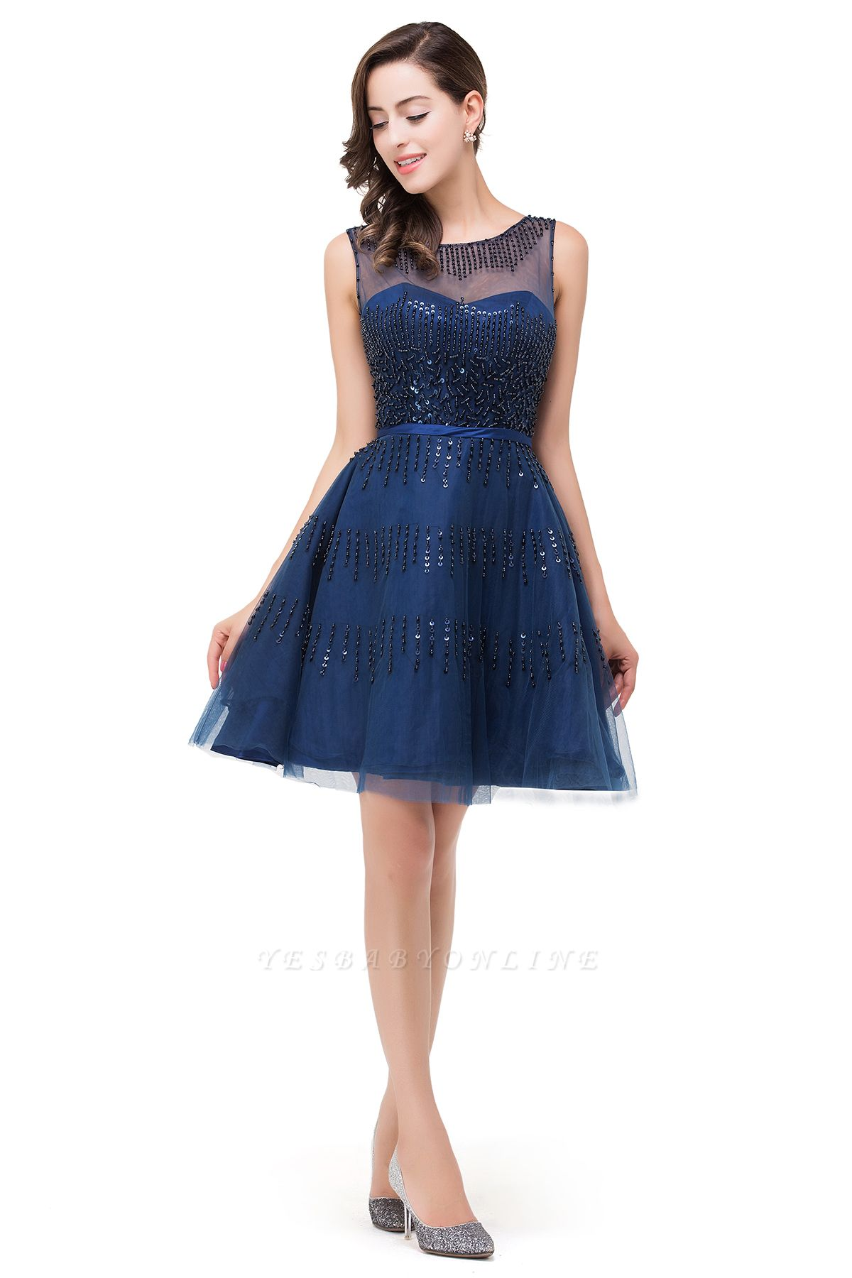 A-Line Sleeveless Crew Tulle Appliques Short Prom Dresses
