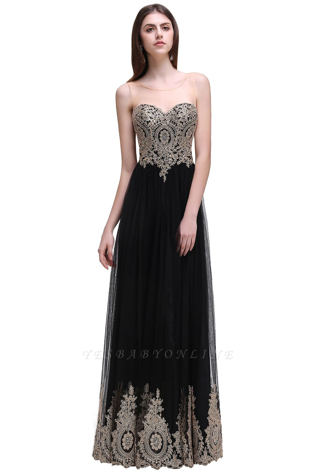 Black Tulle Long A-line Prom Dress with Appliques In Stock