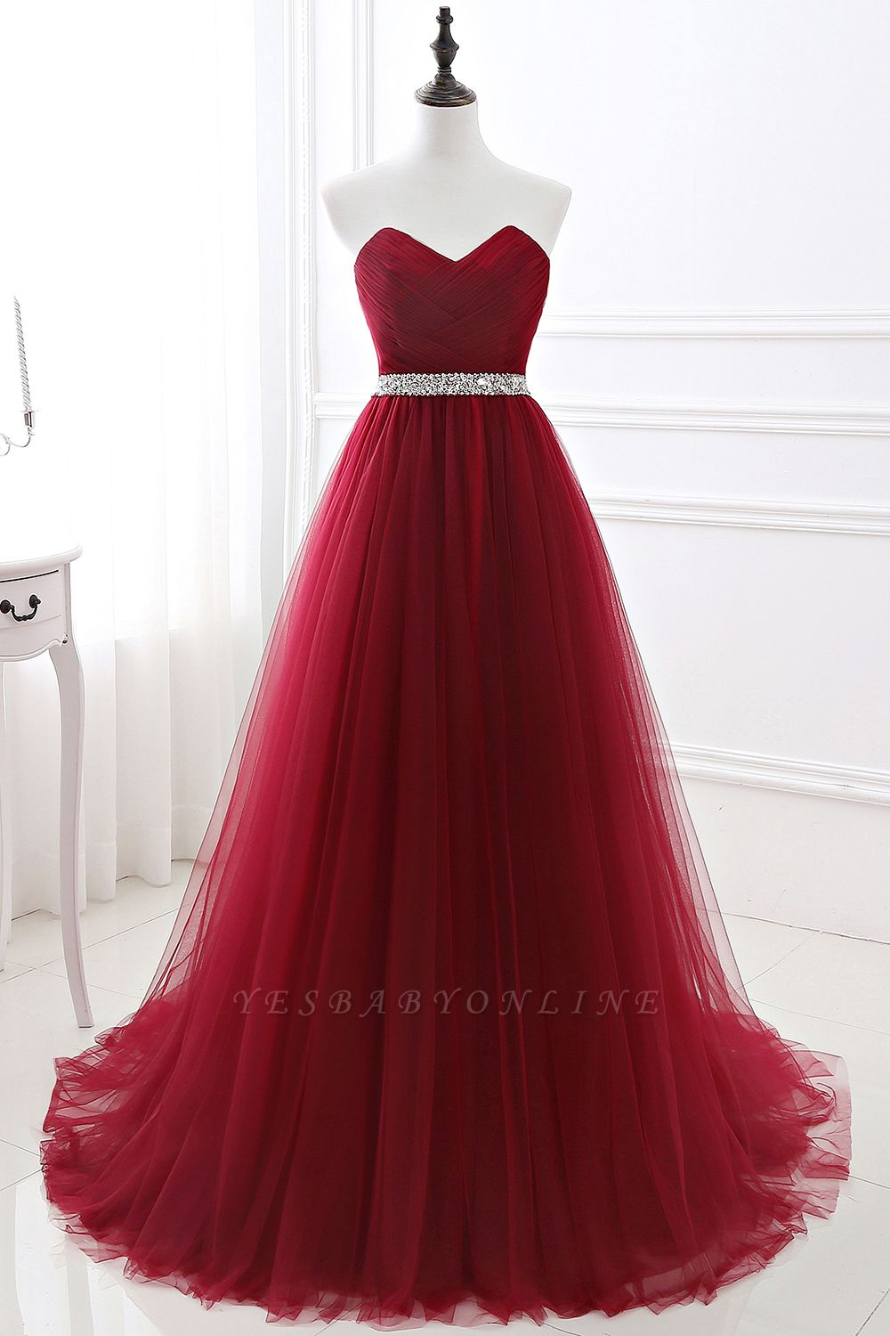 Cheap modest sweetheart sleeveless beading a-line prom dress in Stock