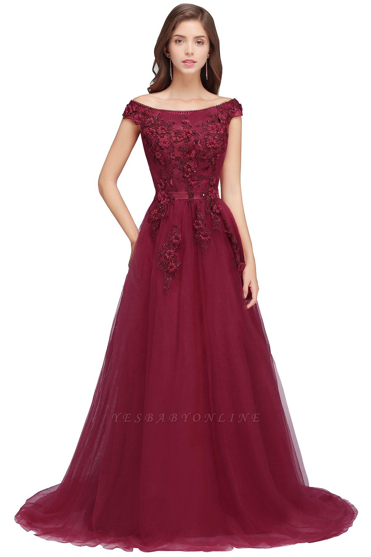 EMBER | A-line Off-shoulder Floor-length Tulle Appliques Prom Dresses