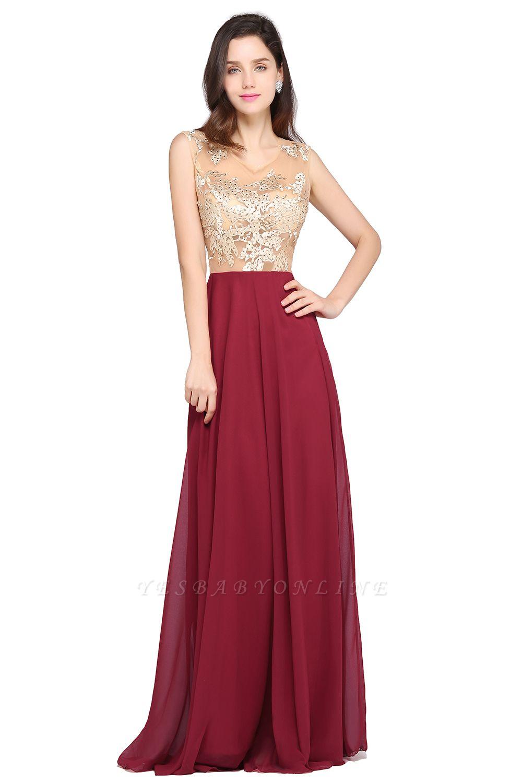 A-line Scoop Chiffon Burgundy Pretty Evening Dresses