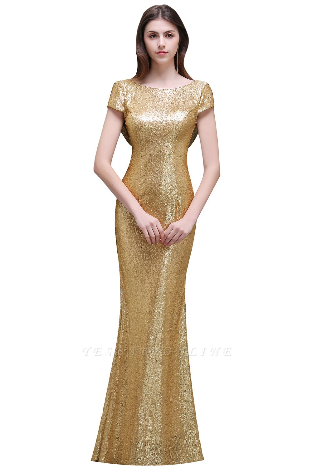 Cheap Women Sparkly Rose Gold Long Sequins Bridesmaid Dress in Stock