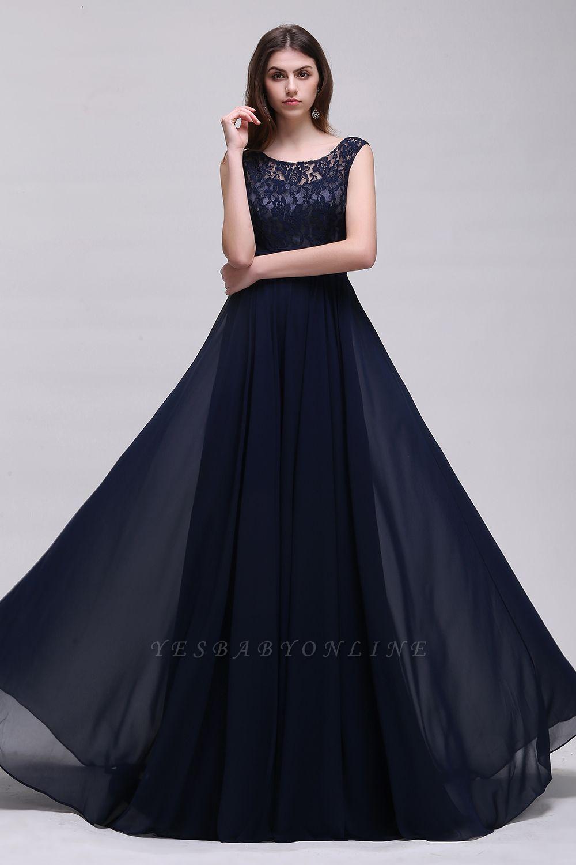 Cheap Sleeveless Lace Long Chiffon Prom Dress Online in Stock