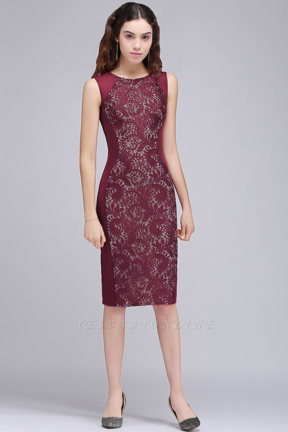 Cheap Cheap Burgungdy Cap Sleeve Lace Mermaid Homecoming Cocktail Party Dress in Stock