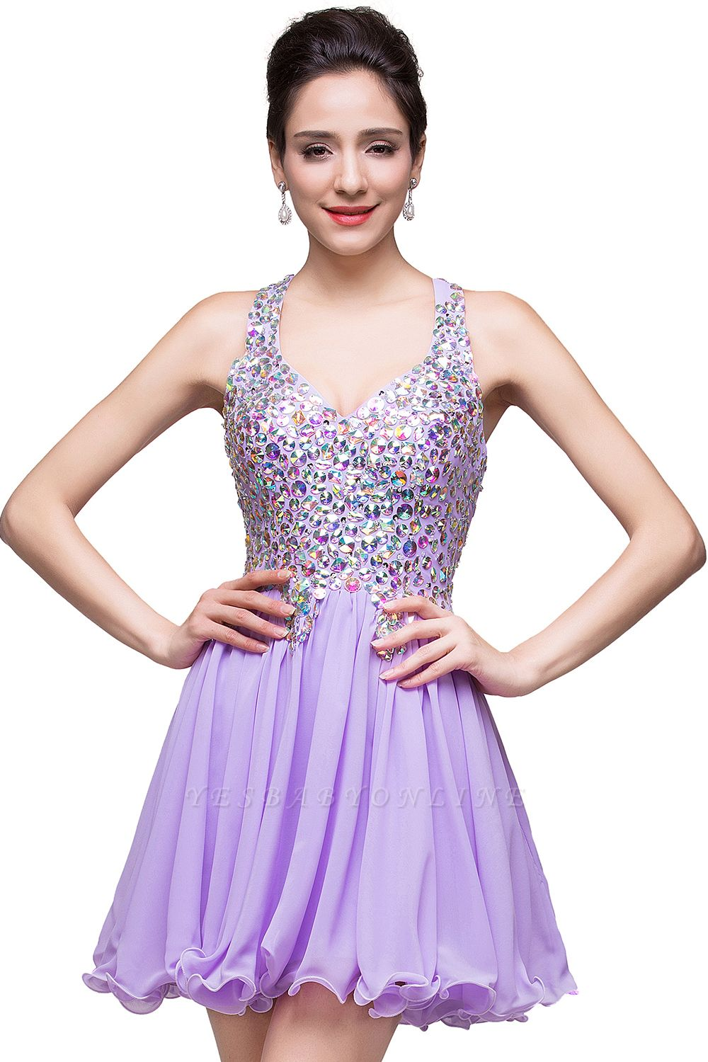 ELIANNA | A-line Short Sleeveless Sweetheart Chiffon Prom Dresses with Crystal Beads