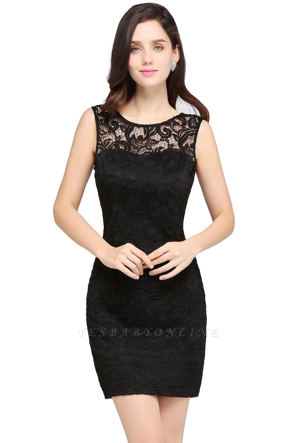 Cheap Cheap Sleeveless Bodycon Black Lace Short Sexy Cocktail Dress in Stock