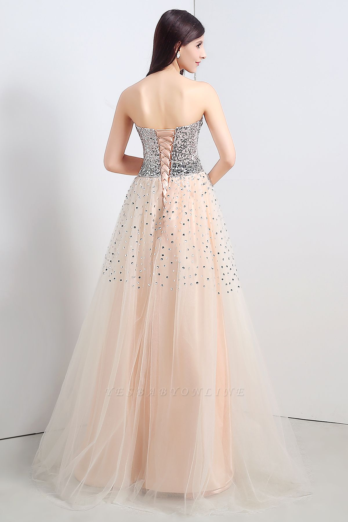 CECELIA   A-line Strapless Tulle Party Dress With  Sequined