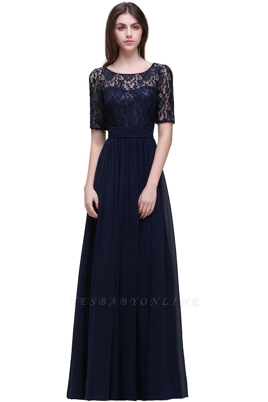 Cheap Half-Sleeve Lace Long Chiffon Evening Dress in Stock