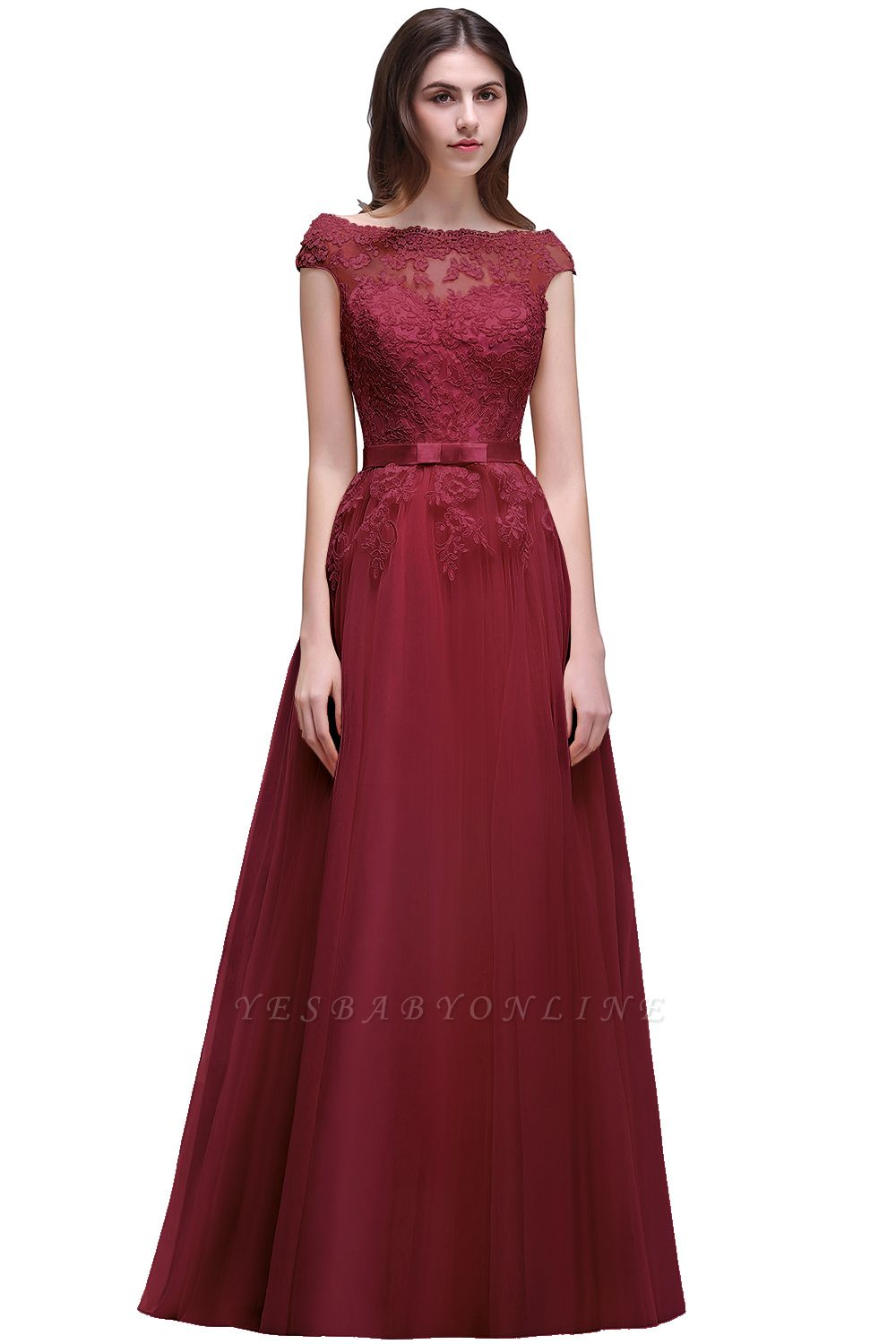 Champagne Evening  Prom Off-the-shoulder Floor-Length with-Belt Lace-Appliques Party Dress