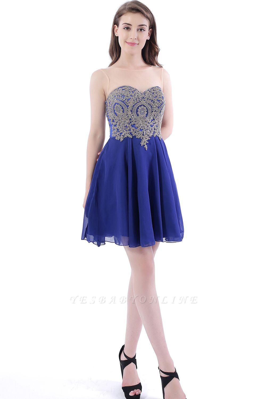 Cheap Lace Chiffon Applique Short Prom Dress in Stock