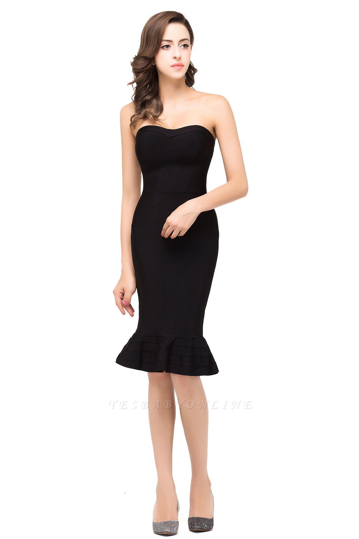 Mermaid Strapless Knee-Length Short Black Prom Dresses