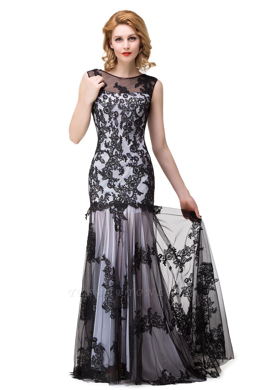 DANIELA | Scoop Neck lace Applique Mermaid Black Prom dresses