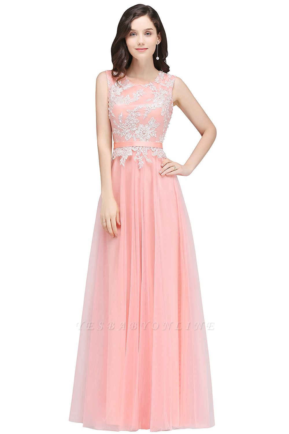 Pink A-line Prom Dress with Lace Appliques In Stock