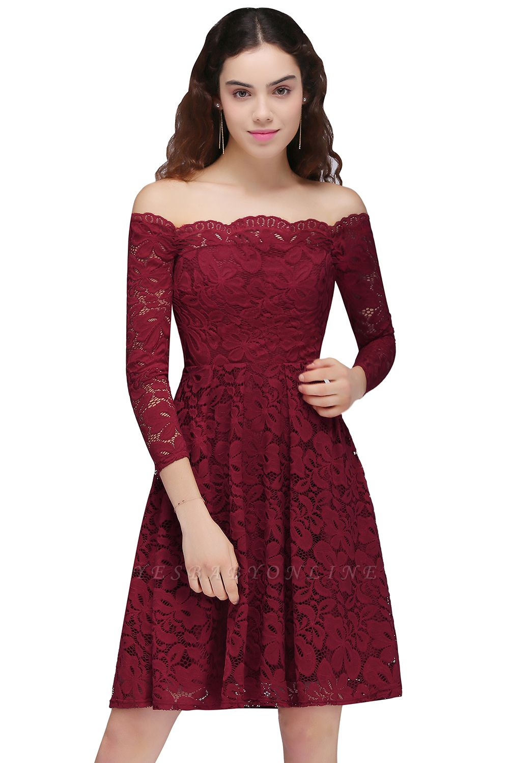 Cheap A-Line Off-the-Shoulder Short Lace Burgundy Homecoming Dress in Stock