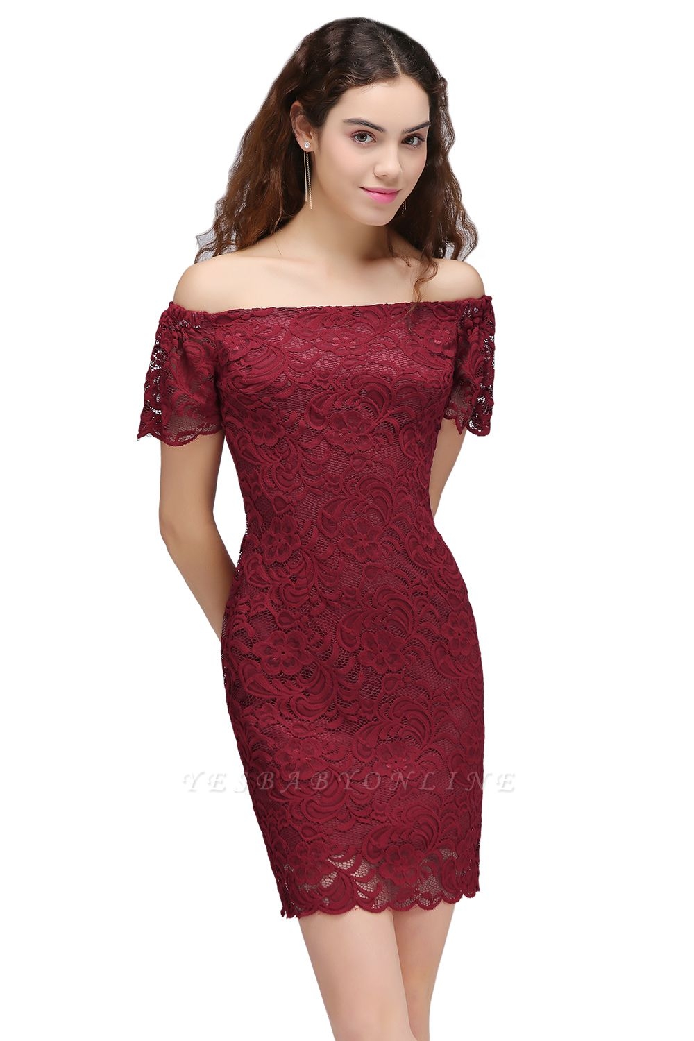 Cheap Burgundy Lace Sheath Homecoming Dress Short Sleeves Cocktail Dress in Stock