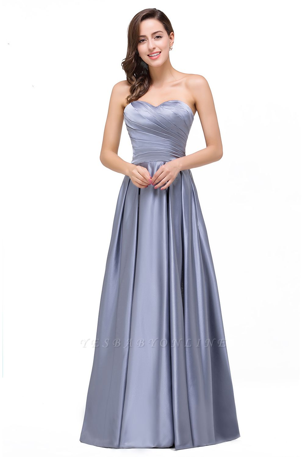 Elegant Long A line Strapless Prom Gown Evening Dress In Stock