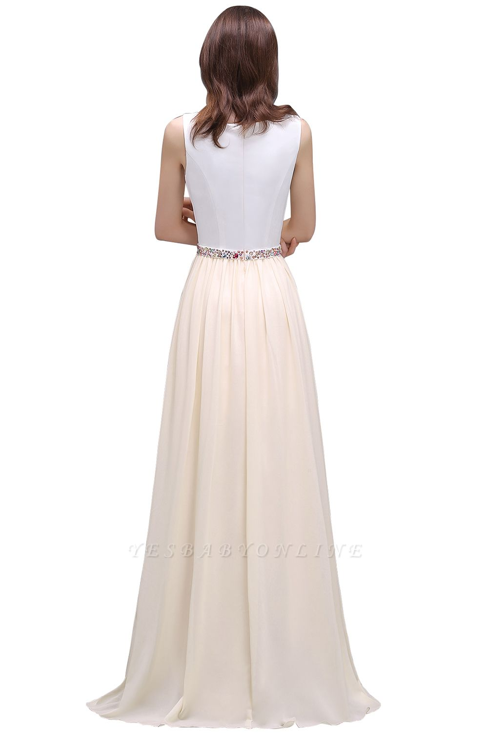 Sheath Jewel White Long Evening Dresses With Beads