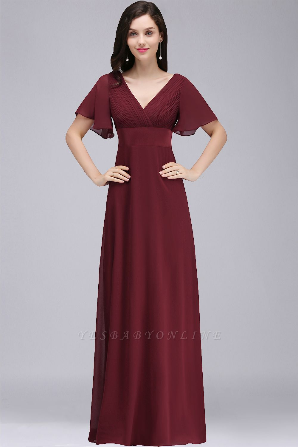 COLETTE | A-line Floor-length Chiffon Burgundy Prom Dress with Soft Pleats