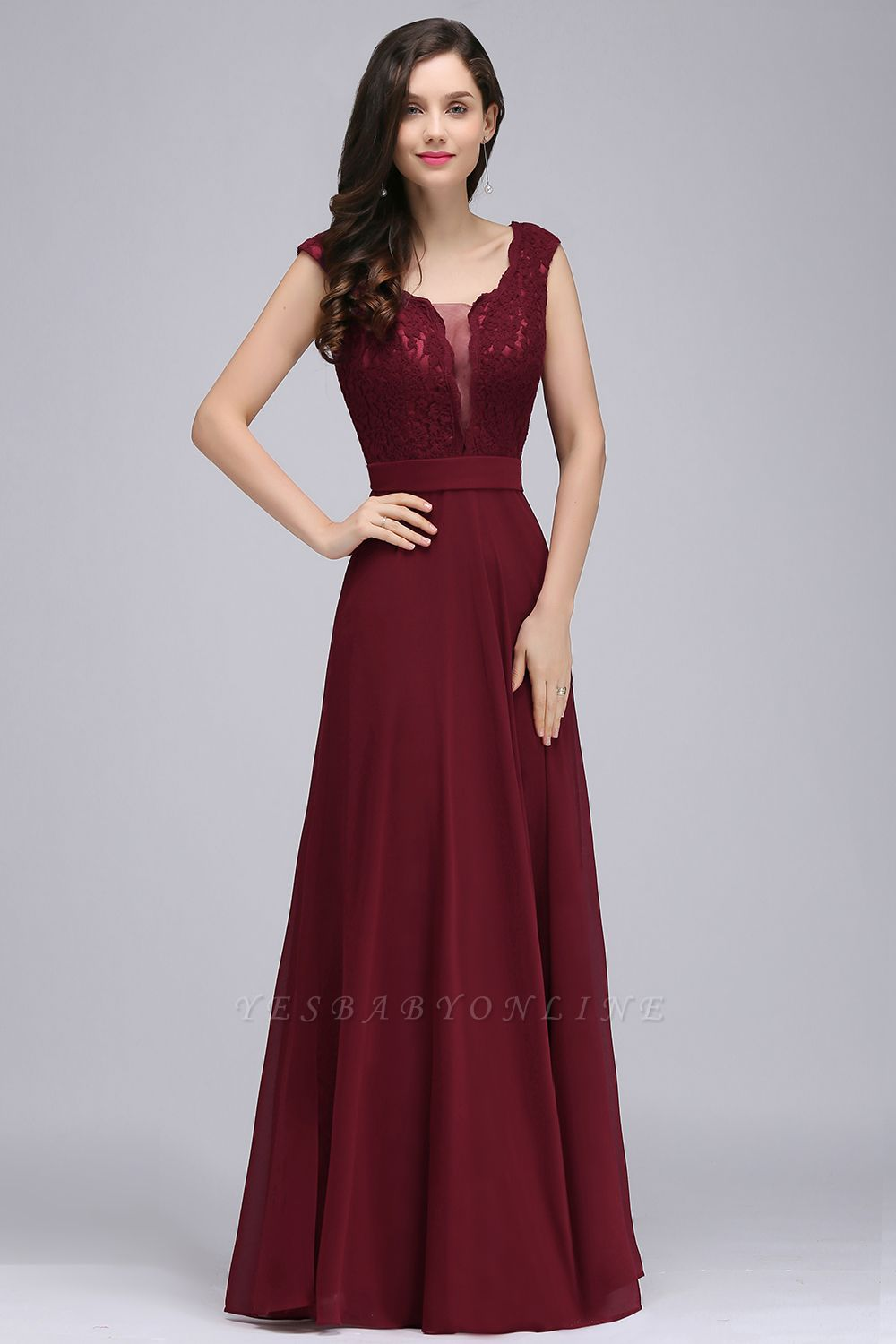 Cheap Elegant Lace A-line Long Burgundy Prom Dress in Stock