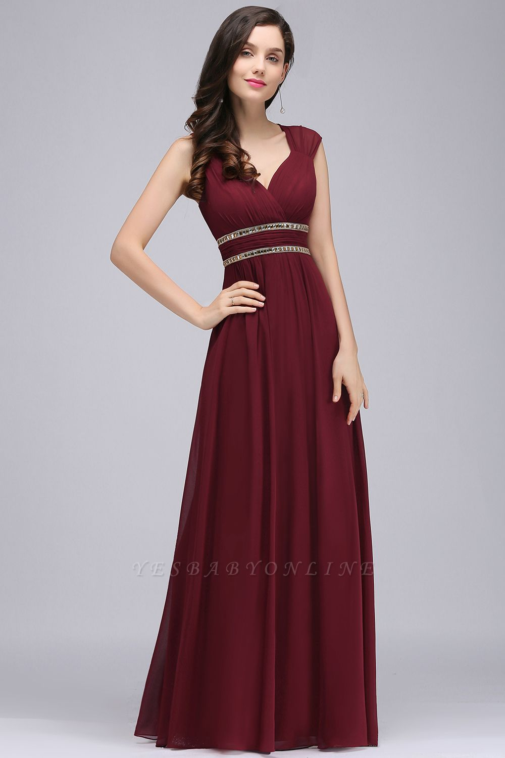 Cheap Vintage Burgundy Cap Sleeve Chiffon Long Evening Dress in Stock