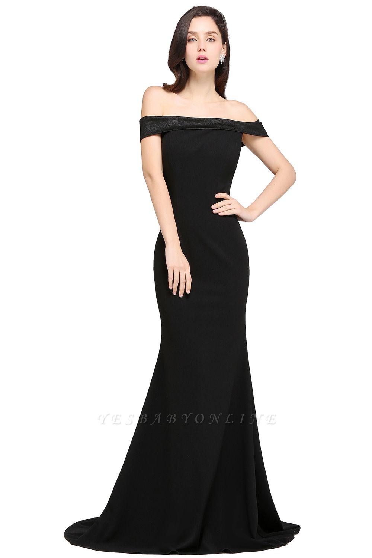 Mermaid Sweep Train Off The Shoulder Black Evening Dresses