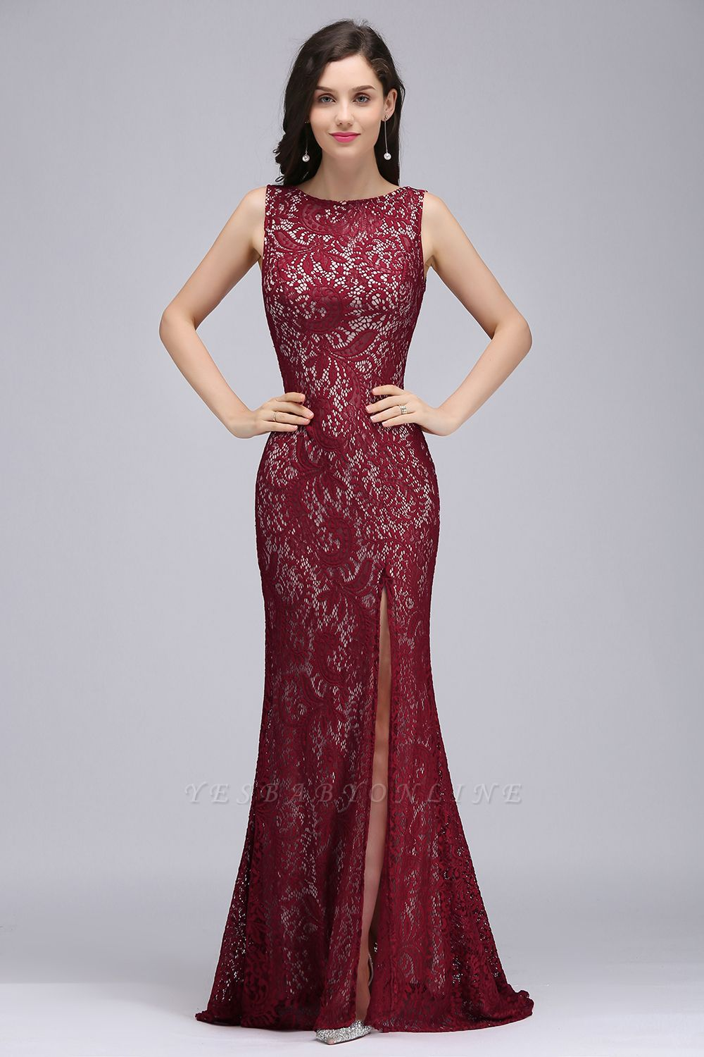 Cheap Crew Front-split Backless Prom Dress Sweep-train Sleeveless Burgundy Lace Mermaid Evening Dress in Stock