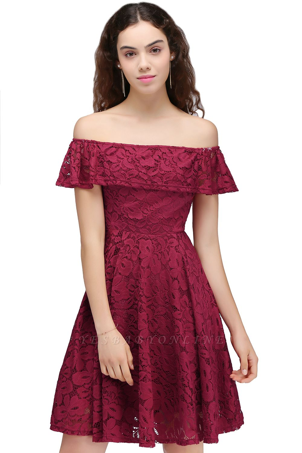 Cheap A-Line Off-the-shoulder Lace Burgundy Homecoming Dress in Stock