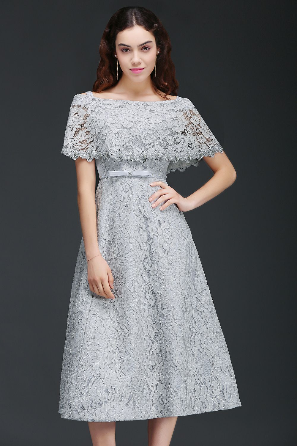ALEXIS | Cheap Off Shoulder Tea-Length A Line Lace Homecoming Dresses With Sash
