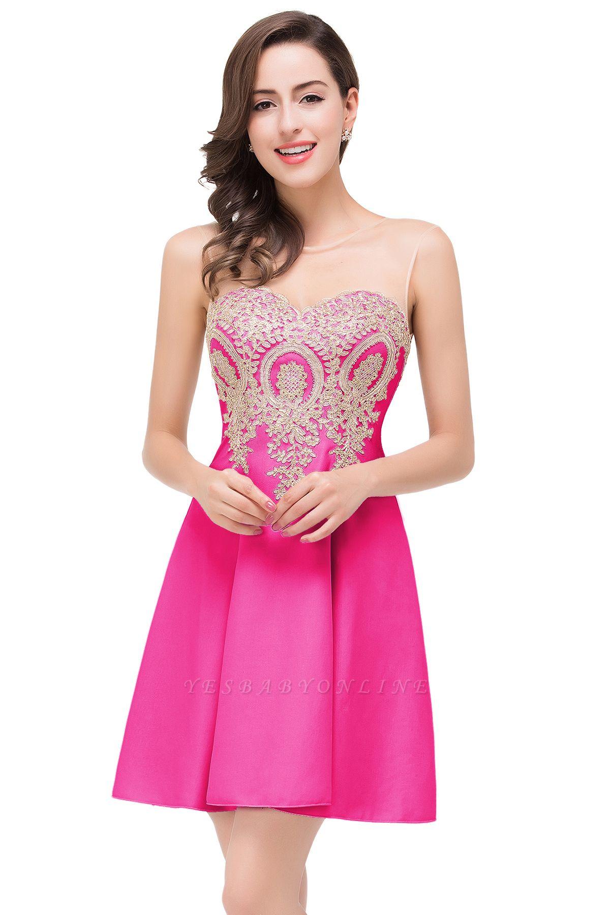ESTHER | A-line Sleeveless Appliques Chiffon Short Prom Dresses