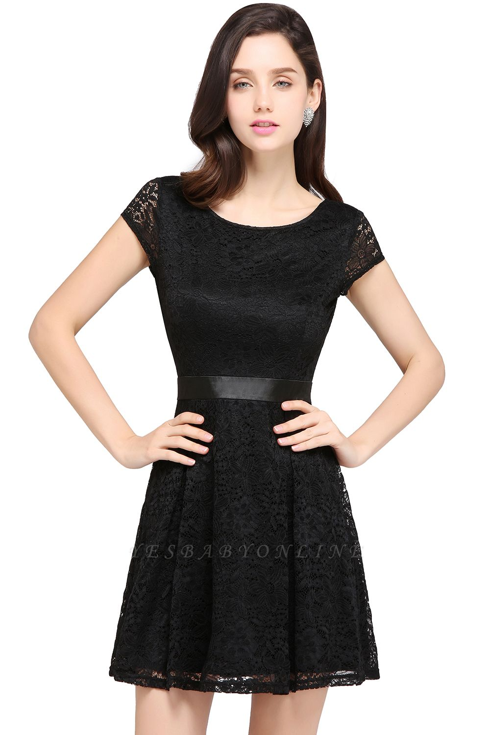 ARMANI | A-line Scoop Black Cheap Lace Homecoming Dress with Sash |