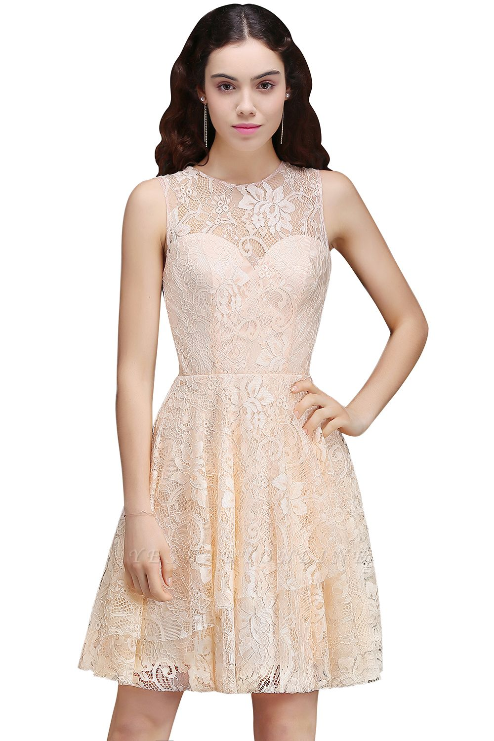 Cheap Modern Lace Pearl Pink Illusion Sleeveless Short Homecoming Dress in Stock