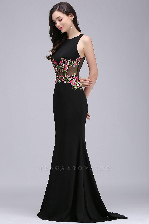 ELAINE | Mermaid Floor-length Sleeveless Prom Dresses with Embroidery-flowers