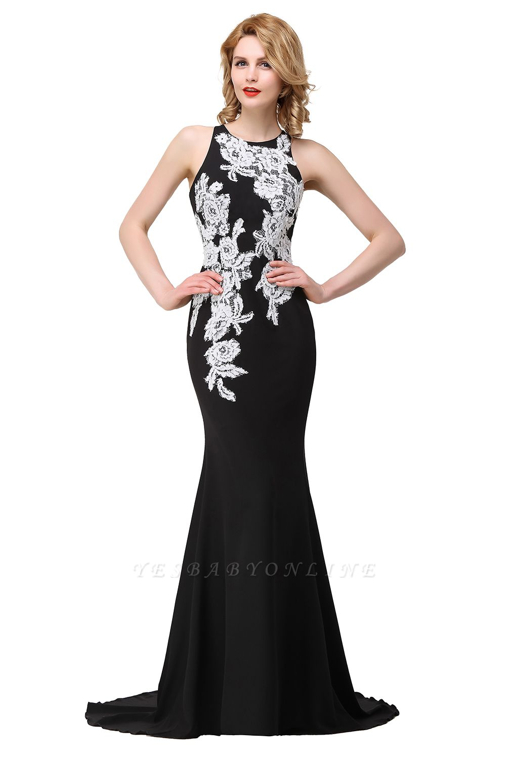 Cheap Mermaid Evening With Appliques For Women Formal Long Prom Dress in Stock