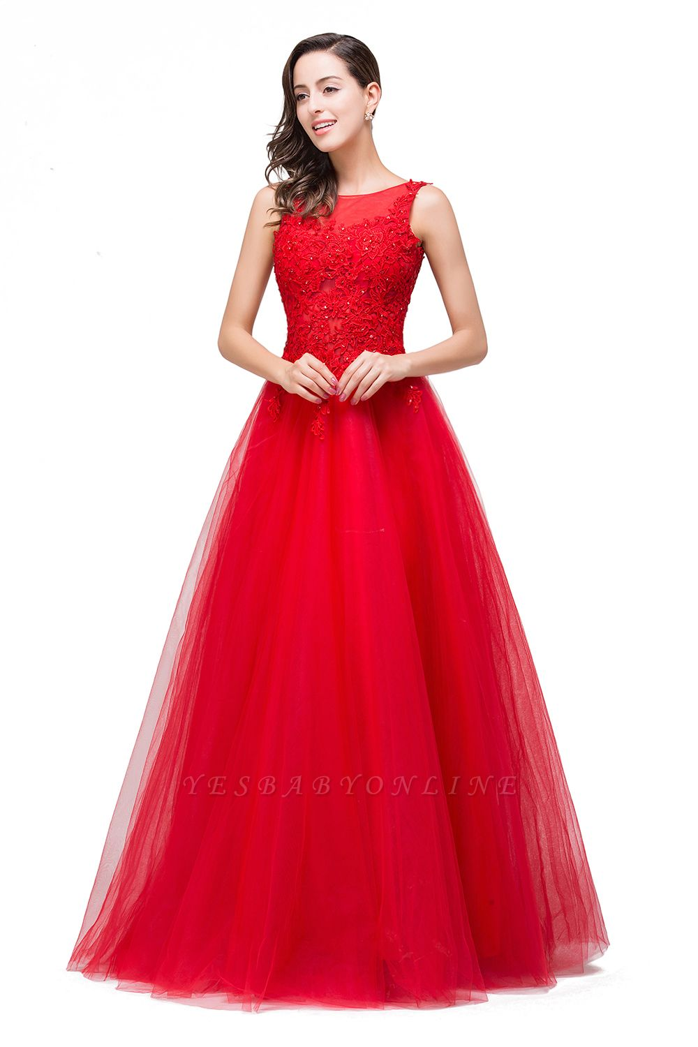 Chic Occasion Sepcial Sheer A-Line Red Evening Dresses