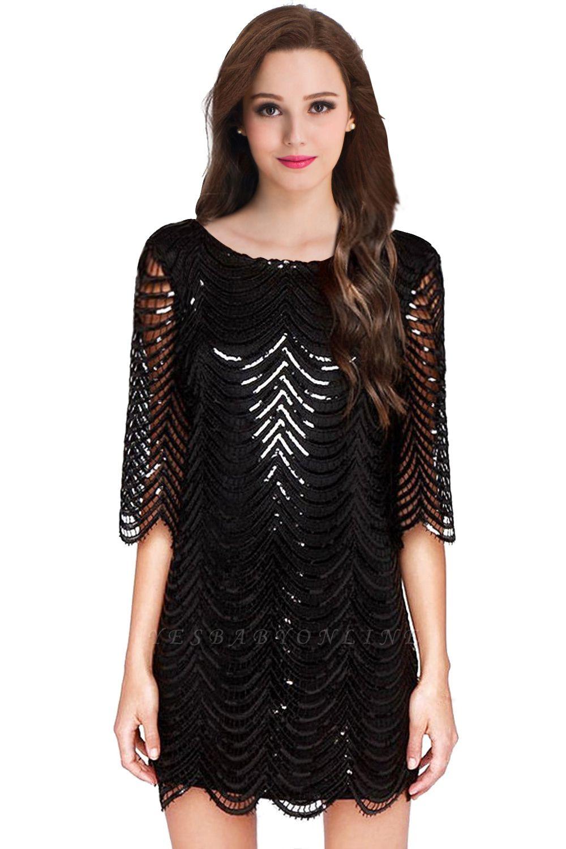Cheap Black Champagne Sheath Long Sleeve Short Cocktailk Dress in Stock